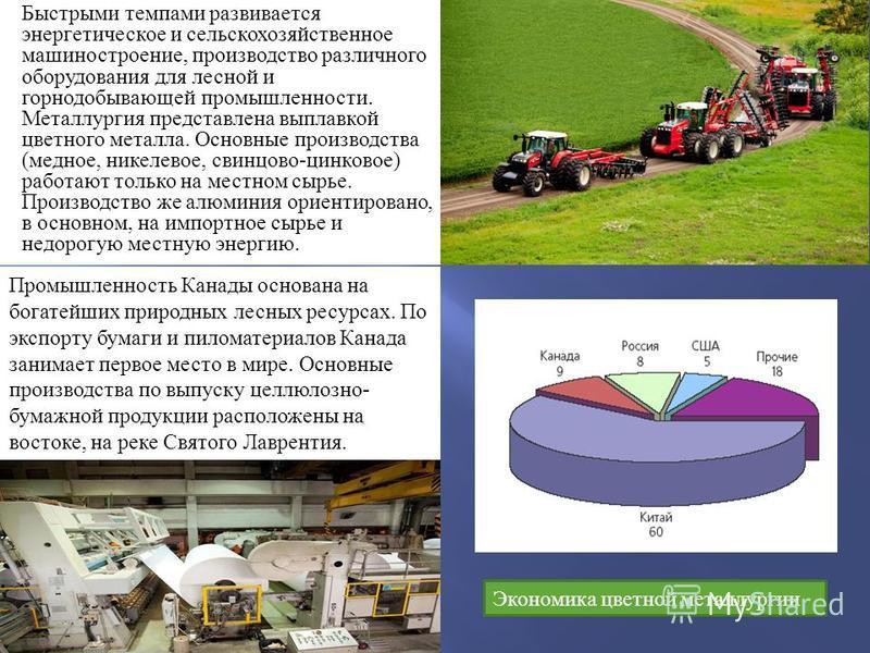 Быстрыми темпами развивается энергетическое и сельскохозяйственное машиностроение, производство различного оборудования для лесной и горнодобывающей промышленности. Металлургия представлена выплавкой цветного металла. Основные производства ( медное,