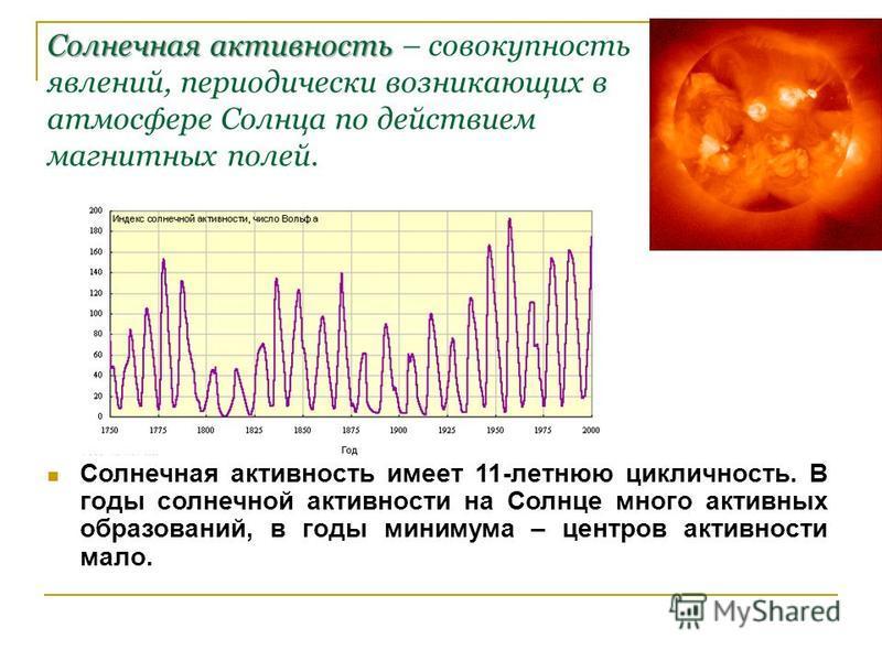 Солнечная активность – совокупность явлений, периодически возникающих в атмосфере Солнца по действием магнитных полей. Солнечная активность имеет 11-летнюю цикличность. В годы солнечной активности на Солнце много активных образований, в годы минимума
