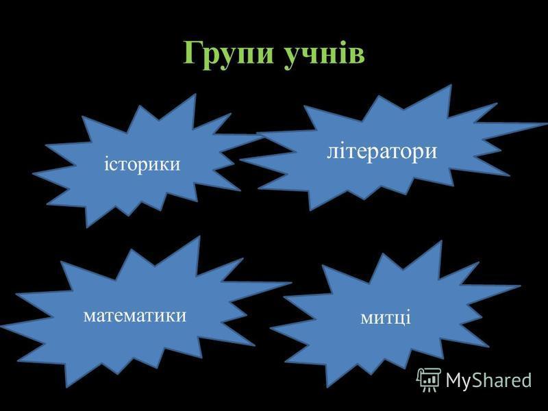 історики Групи учнів літератори математики митці