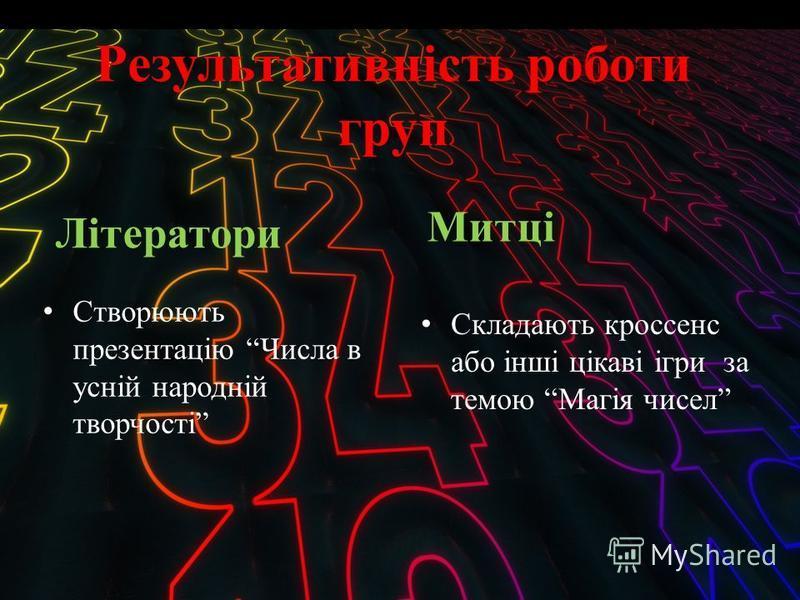 Результативність роботи груп Літератори Створюють презентацію Числа в усній народній творчості Митці Складають кроссенс або інші цікаві ігри за темою Магія чисел