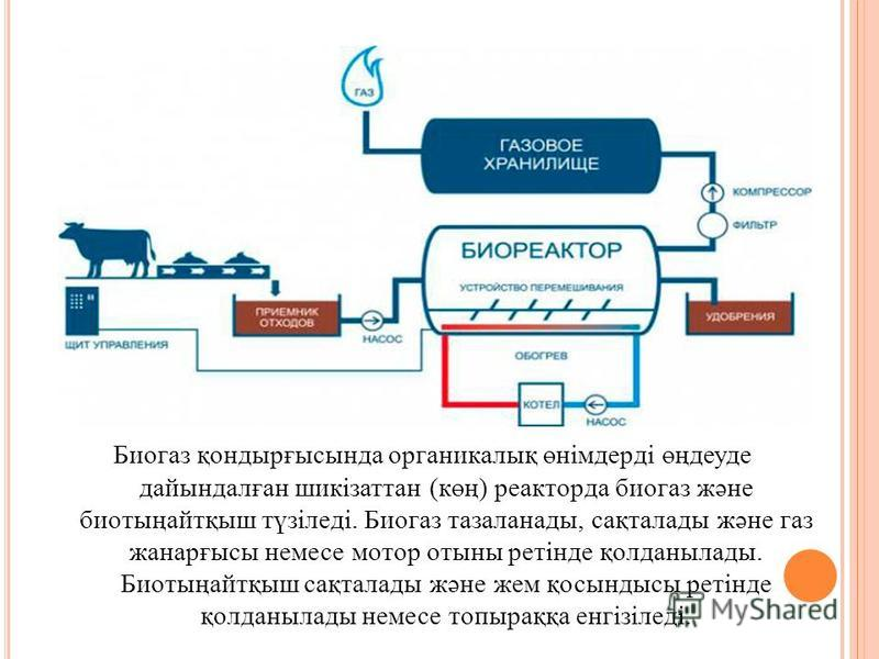 Биогаз қондырғысында органикалық өнімдерді өңдеуде дайындалған шикізаттан (көң) реакторда биогаз және биотыңайтқыш түзіледі. Биогаз тазаланады, сақталады және газ жанарғысы немесе мотор отыны ретінде қолданылады. Биотыңайтқыш сақталады және жем қосын