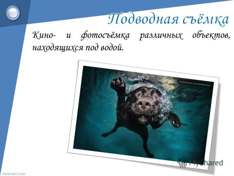 Кино- и фотосъёмка различных объектов, находящихся под водой.