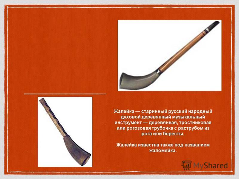 Жалейка старинный русский народный духовой деревянный музыкальный инструмент деревянная, тростниковая или рогозовая трубочка с раструбом из рога или бересты. Жалейка известна также под названием жаломейка.