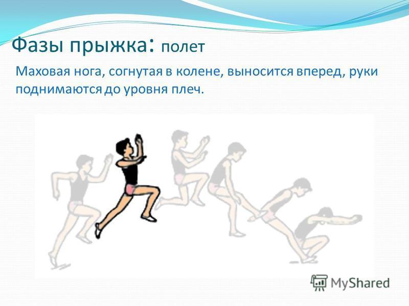 Фазы прыжка : полет Маховая нога, согнутая в колене, выносится вперед, руки поднимаются до уровня плеч.