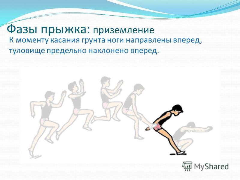 Фазы прыжка: приземление К моменту касания грунта ноги направлены вперед, туловище предельно наклонено вперед.