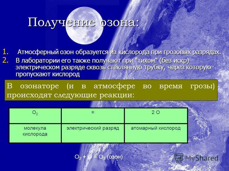 Получение озона: 1. Атмосферный озон образуется из кислорода при грозовых разрядах. 2. В лаборатории его также получают при