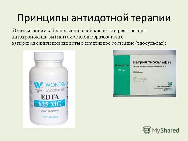 Принципы антидотной терапии б) связывание свободной синильной кислоты и реактивация цитохромоксидазы (метгемоглобинобразователи); в) перевод синильной кислоты в неактивное состояние (тиосульфат);