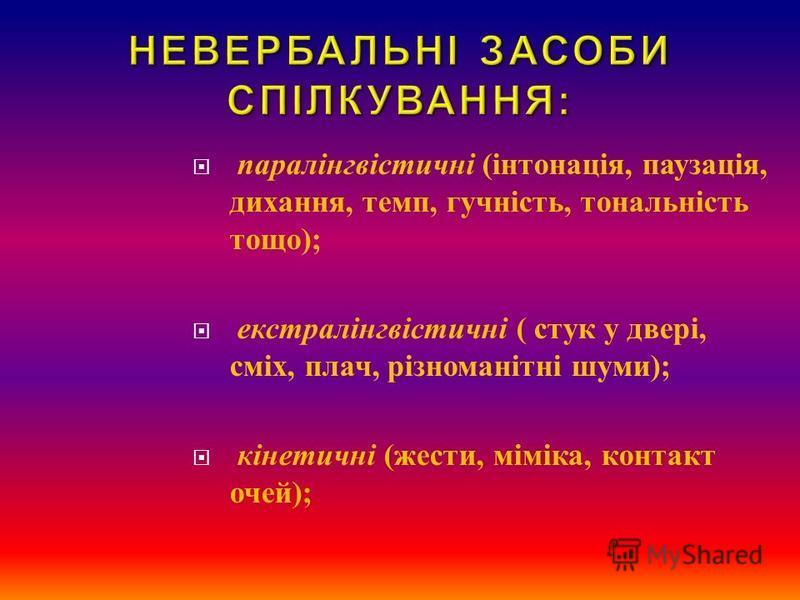 паралінгвістичні ( інтонація, паузація, дихання, темп, гучність, тональність тощо ); екстралінгвістичні ( стук у двері, сміх, плач, різноманітні шуми ); кінетичні ( жести, міміка, контакт очей );