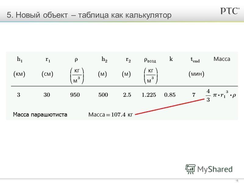 15 5. Новый объект – таблица как калькулятор