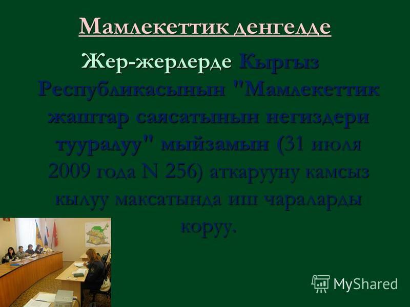 Мамлекеттик денгелде Жер-жерлерде Кыргыз Республикасынын Мамлекеттик жаштар саясатынын негиздери тууралуу мыйзамын (31 июля 2009 года N 256) аткарууну камсыз кылуу максатында иш чараларды коруу.