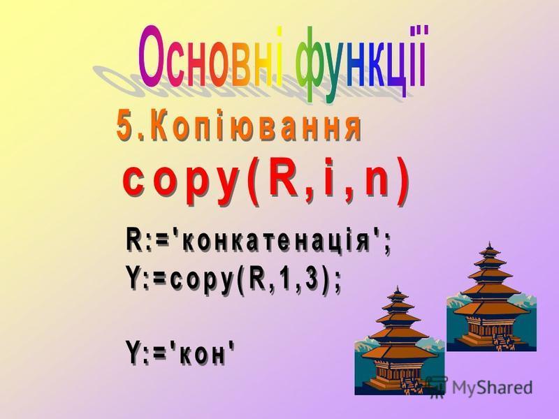 Функція Pos pos(w,r); Функція Pos знаходить номер позиції, з якої починається перше входження слова w у рядкову величину r r r r. Наприклад Program z4; const=Севастополь; w=сто; var p:integer; begin p:=pos(w,r); writeln(p=,p); end. На екрані дисплея