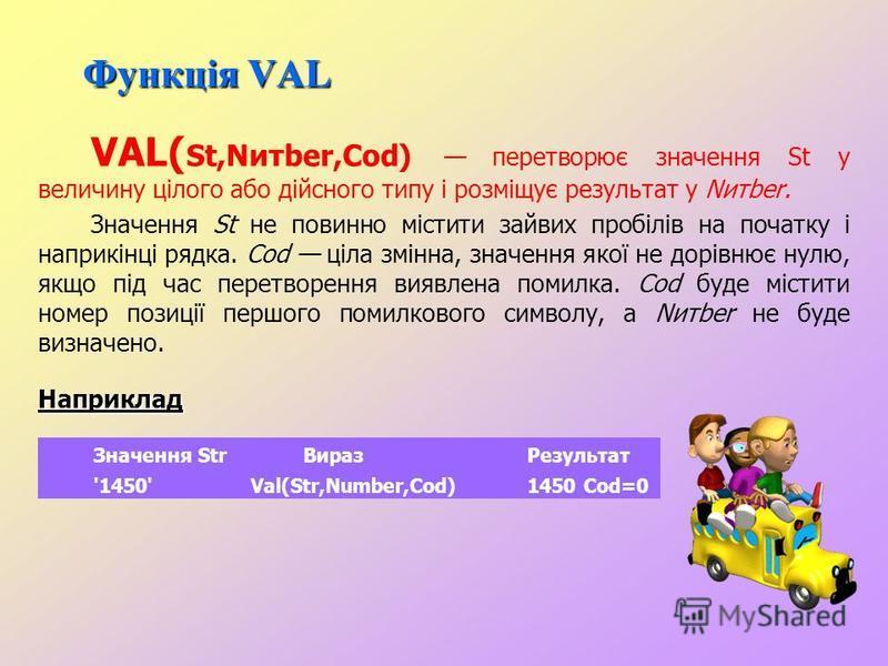 Функція STR STR ( Number,St) перетворення числового значення величини Number і занесення результату в рядок St. Після Number може записуватися формат, аналогічний формату виведення вказівки write. Якщо у форматі зазначена недостатня кількість розряді