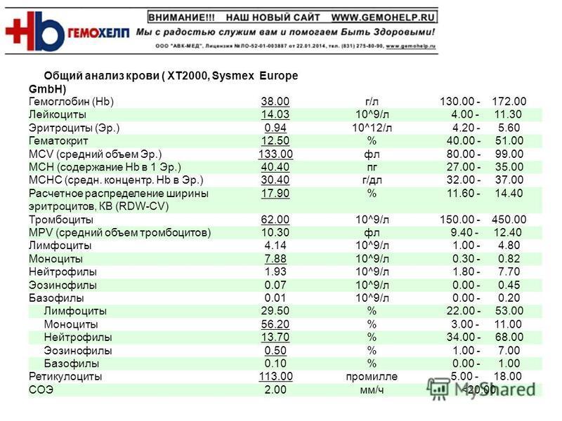Общий анализ крови ( XT2000, Sysmex Europe GmbH) Гемоглобин (Hb)38.00 г/л 130.00 - 172.00 Лейкоциты 14.0310^9/л 4.00 - 11.30 Эритроциты (Эр.)0.9410^12/л 4.20 - 5.60 Гематокрит 12.50% 40.00 - 51.00 MCV (средняяяяяяяяий объем Эр.)133.00 фл 80.00 - 99.0