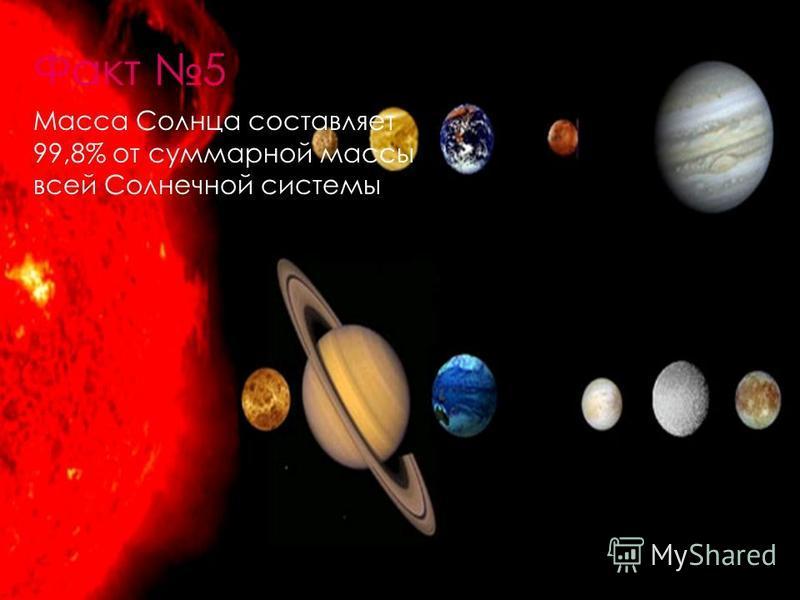 Факт 5 Масса Солнца составляет 99,8% от суммарной массы всей Солнечной системы