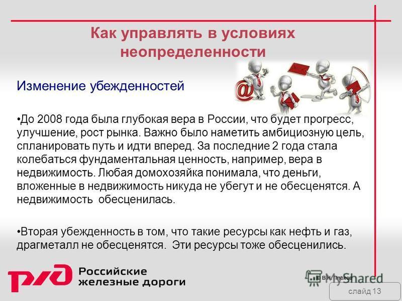 слайд 13 Как управлять в условиях неопределенности Изменение убежденностей До 2008 года была глубокая вера в России, что будет прогресс, улучшение, рост рынка. Важно было наметить амбициозную цель, спланировать путь и идти вперед. За последние 2 года