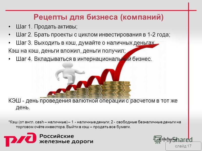 слайд 17 Рецепты для бизнеса (компаний) Шаг 1. Продать активы; Шаг 2. Брать проекты с циклом инвестирования в 1-2 года; Шаг 3. Выходить в кэш, думайте о наличных деньгах. Кэш на кэш, деньги вложил, деньги получил; Шаг 4. Вкладываться в интернациональ