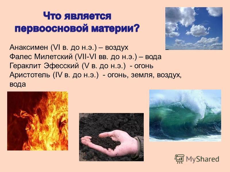 Анаксимен (VI в. до н.э.) – воздух Фалес Милетский (VII-VI вв. до н.э.) – вода Гераклит Эфесский (V в. до н.э.) - огонь Аристотель (IV в. до н.э.) - огонь, земля, воздух, вода