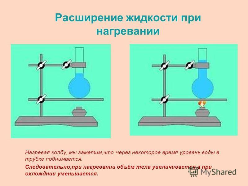 Расширение жидкости при нагревании Нагревая колбу, мы заметим,что через некоторое время уровень воды в трубке поднимается. Следовательно,при нагревании объём тела увеличивается,а при охлаждении уменьшается.