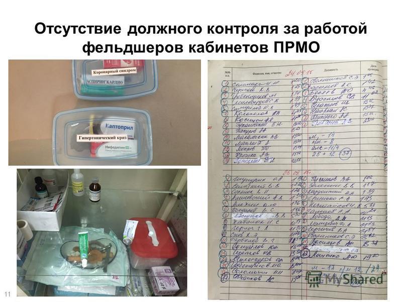 Отсутствие должного контроля за работой фельдшеров кабинетов ПРМО 11