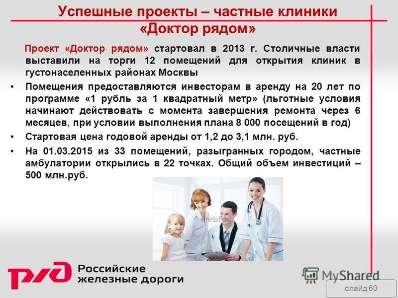 слайд 60 Успешные проекты – частные клиники «Доктор рядом» Проект «Доктор рядом» стартовал в 2013 г. Столичные власти выставили на торги 12 помещений для открытия клиник в густонаселенных районах Москвы Помещения предоставляются инвесторам в аренду н
