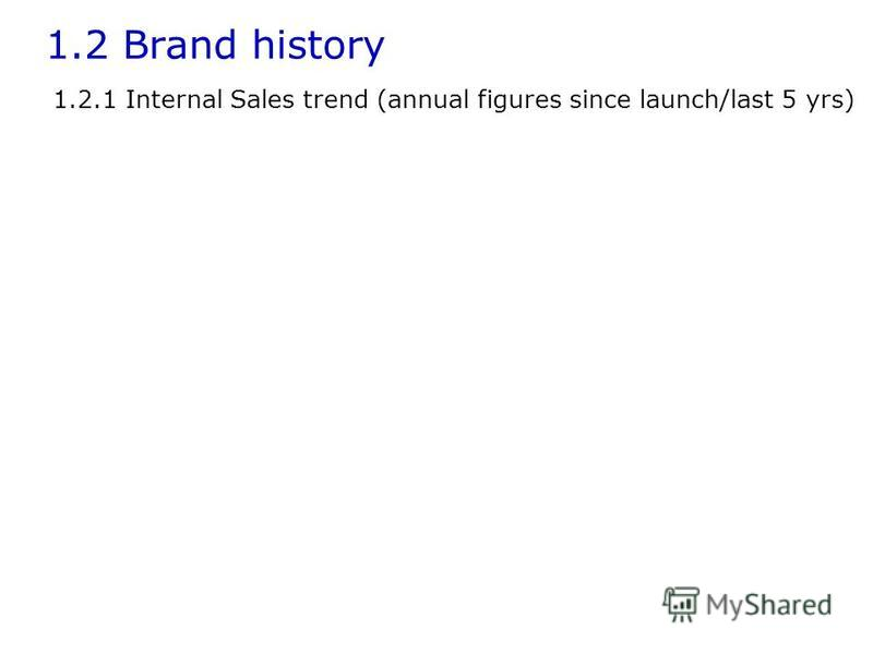 1.2 Brand history 1.2.1 Internal Sales trend (annual figures since launch/last 5 yrs)