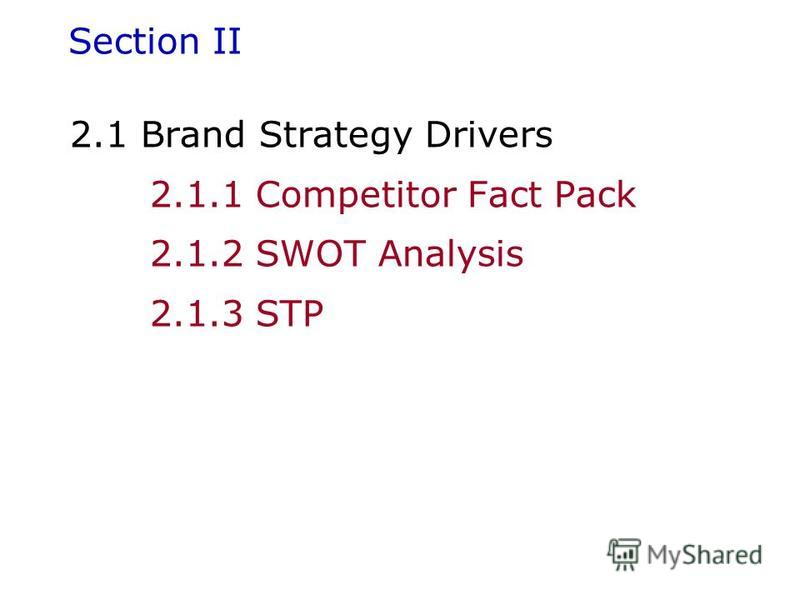 Section II 2.1 Brand Strategy Drivers 2.1.1 Competitor Fact Pack 2.1.2 SWOT Analysis 2.1.3 STP