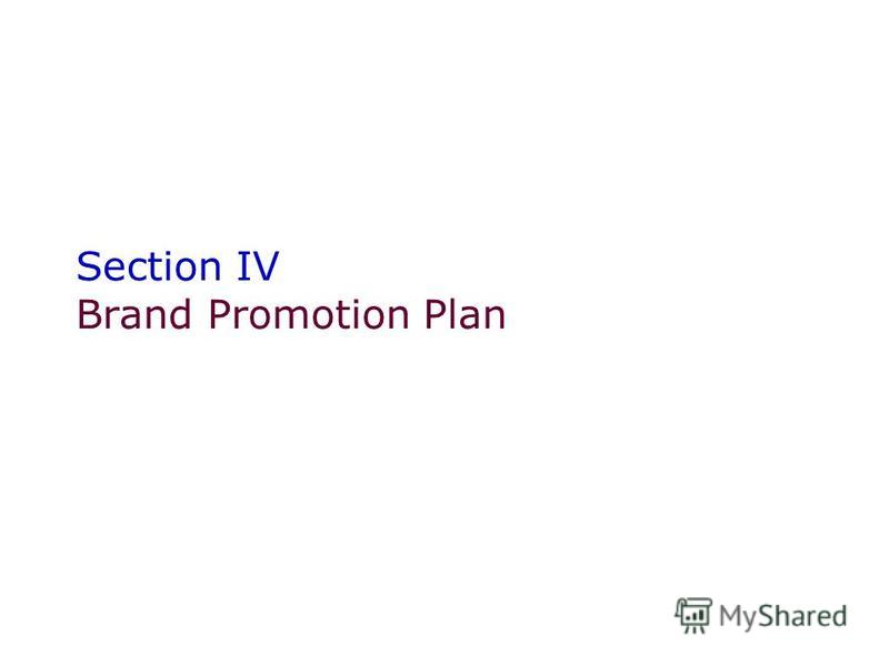 Section IV Brand Promotion Plan