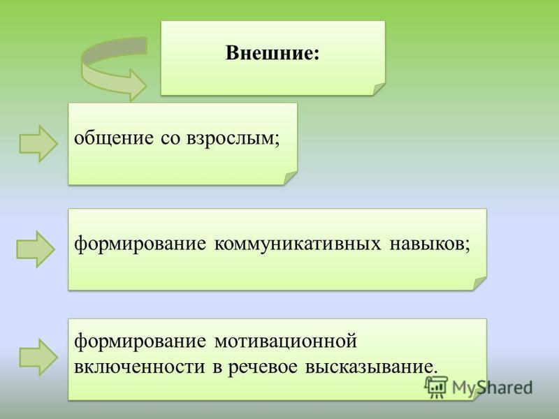 Внешние: общение со взрослым; формирование коммуникативных навыков; формирование мотивационной включенности в речевое высказывание.