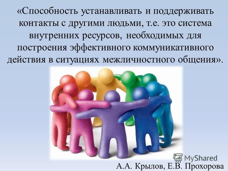 «Способность устанавливать и поддерживать контакты с другими людьми, т.е. это система внутренних ресурсов, необходимых для построения эффективного коммуникативного действия в ситуациях межличностного общения». А.А. Крылов, Е.В. Прохорова