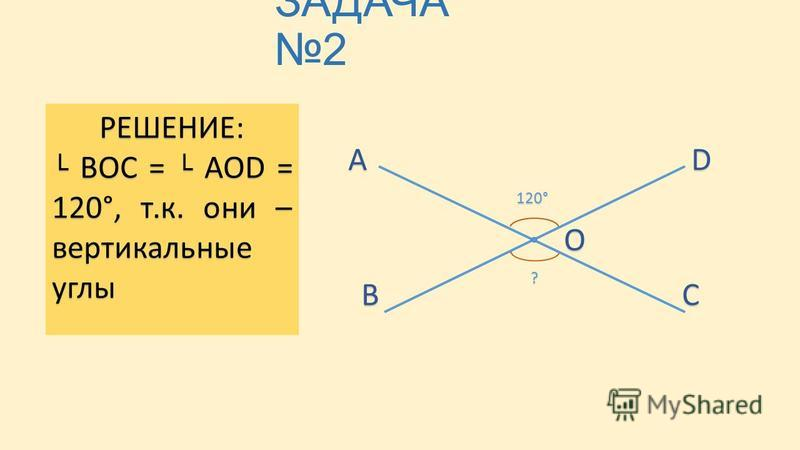 ЗАДАЧА 2 ДАНО: AOD = 120° НАЙТИ: ВОС А ВС D О 120° ? РЕШЕНИЕ: ВОС = AOD = 120°, т.к. они – вертикальные углы ВОС = AOD = 120°, т.к. они – вертикальные углы