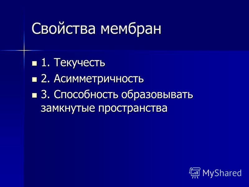 Свойства мембран 1. Текучесть 1. Текучесть 2. Асимметричность 2. Асимметричность 3. Способность образовывать замкнутые пространства 3. Способность образовывать замкнутые пространства