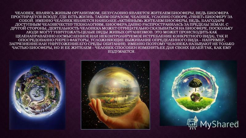 ЧЕЛОВЕК, ЯВЛЯЯСЬ ЖИВЫМ ОРГАНИЗМОМ, БЕЗУСЛОВНО ЯВЛЯЕТСЯ ЖИТЕЛЕМ БИОСФЕРЫ, ВЕДЬ БИОСФЕРА ПРОСТИРАЕТСЯ ВСЮДУ, ГДЕ ЕСТЬ ЖИЗНЬ. ТАКИМ ОБРАЗОМ, ЧЕЛОВЕК, УСЛОВНО ГОВОРЯ, «ТЯНЕТ» БИОСФЕРУ ЗА СОБОЙ. ИМЕННО ЧЕЛОВЕК ЯВЛЯЕТСЯ НАИБОЛЕЕ «АКТИВНЫМ» ЖИТЕЛЕМ БИОСФЕРЫ