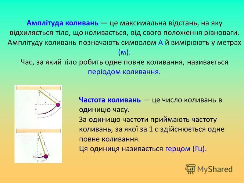 Амплітуда коливань це максимальна відстань, на яку відхиляється тіло, що коливається, від свого положення рівноваги. Амплітуду коливань позначають символом А й вимірюють у метрах (м). Час, за який тіло робить одне повне коливання, називається періодо