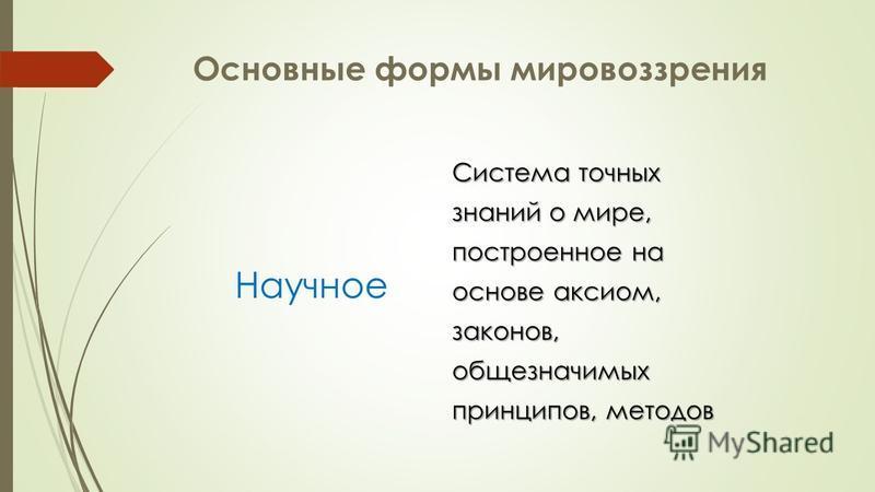 Основные формы мировоззрения Философское Упорядочивает мир как целостность на основе разума и рациональности Упорядочивает мир как целостность на основе разума и рациональности Философия-умозрение, знания о мире выражены в понятийной форме Философия-