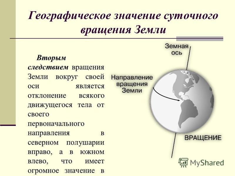 Географическое значение суточного вращения Земли Вторым следствием вращения Земли вокруг своей оси является отклонение всякого движущегося тела от своего первоначального направления в северном полушарии вправо, а в южном влево, что имеет огромное зна