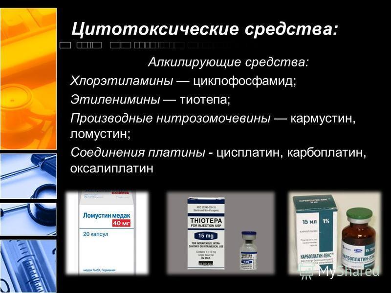 Цитотоксические средства: Алкилирующие средства: Хлорэтиламины циклофосфамид; Этиленимины тиотепа; Производные нитрозомочевины кармустин, ломустин; Соединения платины - цисплатин, карбоплатин, оксалиплатин