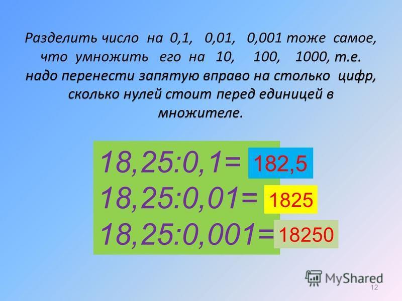Разделить число на 0,1, 0,01, 0,001 тоже самое, что умножить его на 10, 100, 1000, т тт т.е. надо перенести запятую вправо на столько цифр, сколько нулей стоит перед единицей в множителе. 12 18,25:0,1= 18,25:0,01= 18,25:0,001= 182,5 1825 18250
