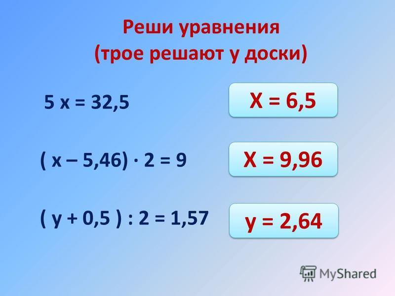 Реши уравнения (трое решают у доски) 5 х = 32,5 ( х – 5,46) 2 = 9 ( у + 0,5 ) : 2 = 1,57 Х = 6,5 Х = 9,96 у = 2,64
