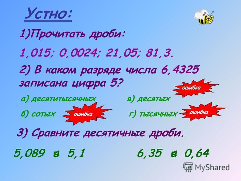 Устно: 1)Прочитать дроби: 1,015; 0,0024; 21,05; 81,3. 2) В каком разряде числа 6,4325 записана цифра 5? а) десятитысячных б) сотых в) десятых г) тысячных 3) Сравните десятичные дроби. 5,089 5,16,35 0,64 и<и > ошибка