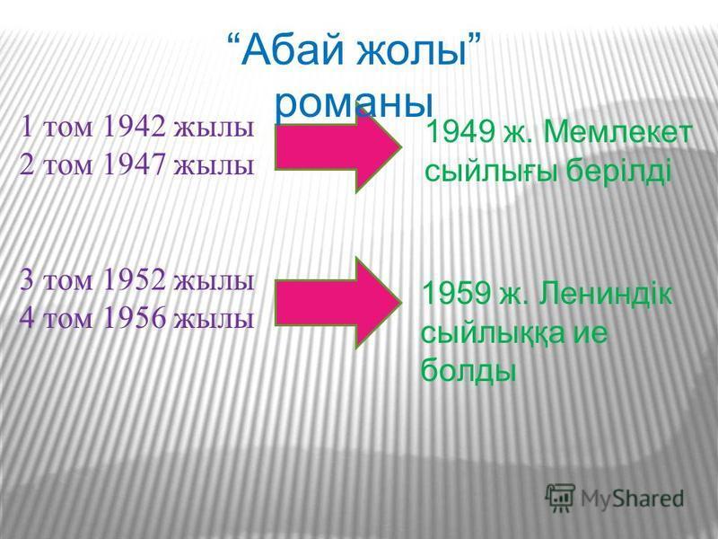 1 том 1942 жылы 2 том 1947 жылы 3 том 1952 жылы 4 том 1956 жылы Абай жолы романы 1949 ж. Мемлекет сыйлығы берілді 1959 ж. Лениндік сыйлыққа ие болды