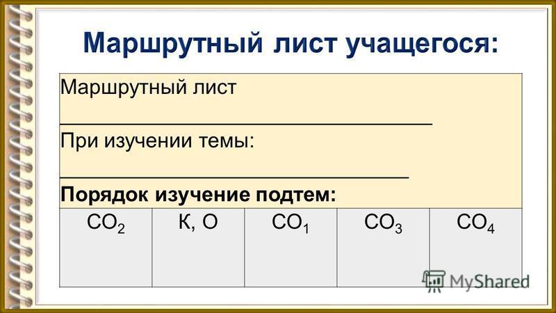 Маршрутный лист ________________________________ При изучении темы: ______________________________ Порядок изучение подтем: СО 2 К, ОСО 1 СО 3 СО 4