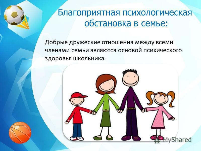 Благоприятная психологическая обстановка в семье: Добрые дружеские отношения между всеми членами семьи являются основой психического здоровья школьника.