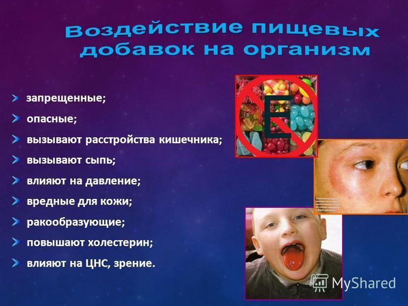 запрещенные; опасные; вызывают расстройства кишечника; вызывают сыпь; влияют на давление; вредные для кожи; ракообразующие; повышают холестерин; влияют на ЦНС, зрение.