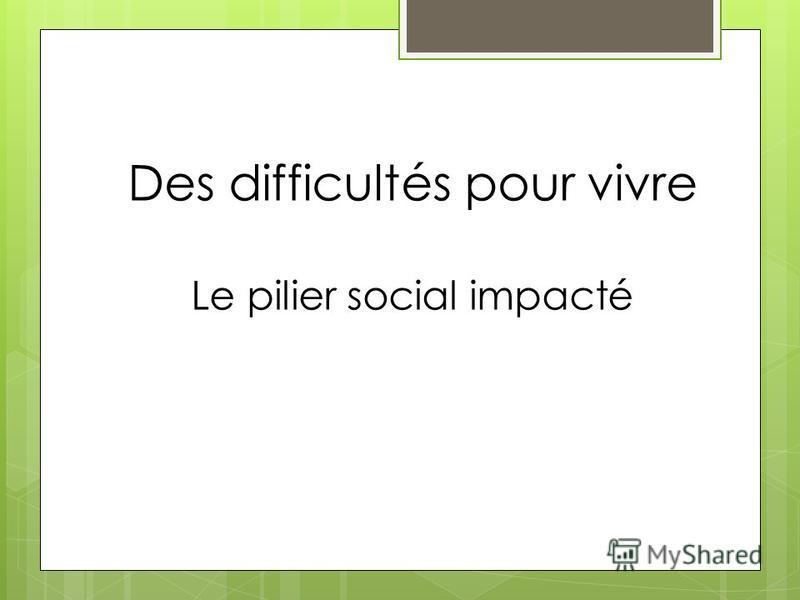 Des difficultés pour vivre Le pilier social impacté