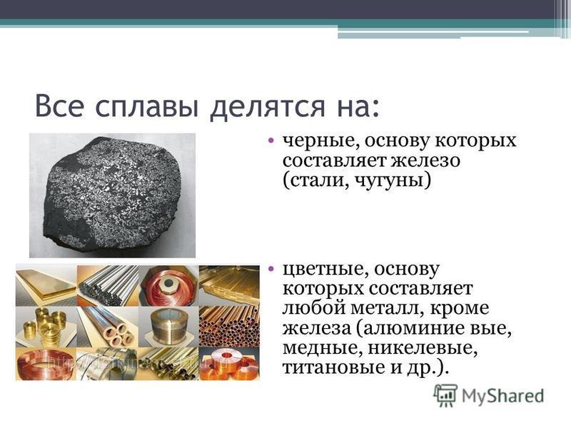 Все сплавы делятся на: черные, основу которых составляет железо (стали, чугуны) цветные, основу которых составляет любой металл, кроме железа (алюминие вые, медные, никелевые, титановые и др.).