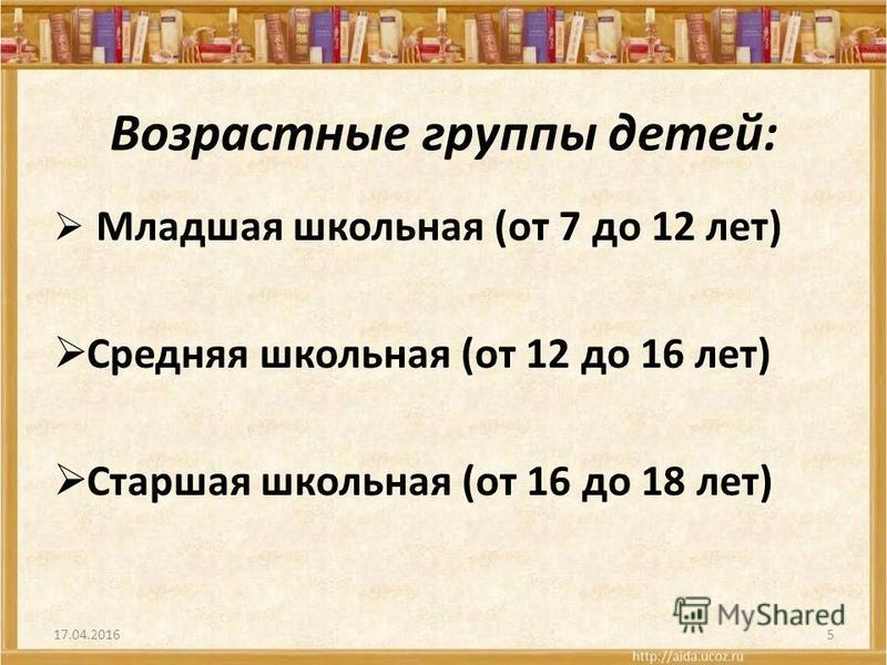 Возрастные группы детей: Младшая школьная (от 7 до 12 лет) Средняя школьная (от 12 до 16 лет) Старшая школьная (от 16 до 18 лет) 17.04.20165