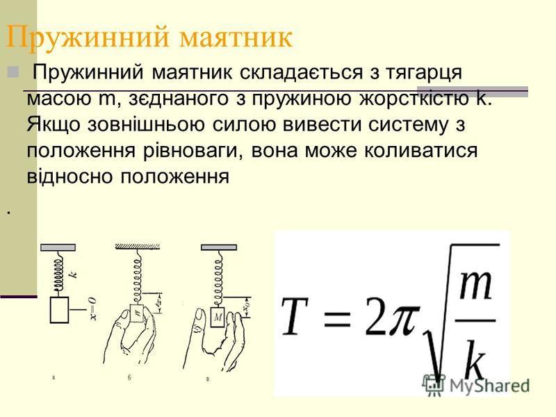 Пружинний маятник Пружинний маятник складається з тягарця масою m, зєднаного з пружиною жорсткістю k. Якщо зовнішньою силою вивести систему з положення рівноваги, вона може коливатися відносно положення.