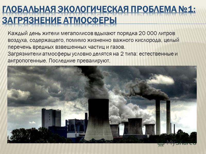 Каждый день жители мегаполисов вдыхают порядка 20 000 литров воздуха, содержащего, помимо жизненно важного кислорода, целый перечень вредных взвешенных частиц и газов. Загрязнители атмосферы условно делятся на 2 типа: естественные и антропогенные. По