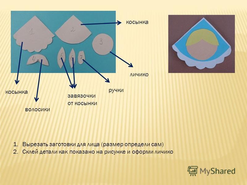 1. Вырезать заготовки для лица (размер определи сам) 2. Склей детали как показано на рисунке и оформи личико косынка волосики завязочки от косынки ручки личико косынка