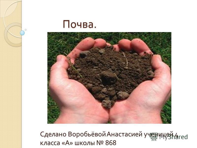 Почва. Сделано Воробьёвой Анастасией ученицей 4 класса « А » школы 868